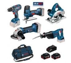 Kit 5 outils 18V BOSCH Perceuse-visseuse + meuleuse angulaire + scie circulaire + scie sauteuse + scie sabre + 3 batteries 4.0 Ah + 1 chargeur - 0615990K6N