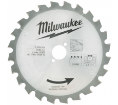 Lame de scie circulaire bois 216 mm 24 dents MILWAUKEE - 4932352839
