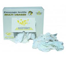 Carton 10 kg de chiffon essuyage mi-fin coton blanc - D014ECX