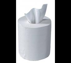 Bobine papier blanc devidage central 450 formats - 2 plis colles