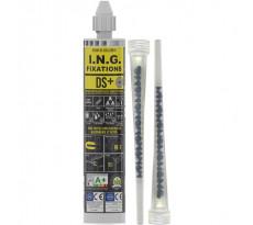 Résine scellement méthacrylate DS+ ING FIXATIONS - Lot de 6 - Cartouche de 300 ml - Gris - A050145