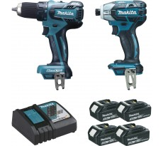 Ensemble de 2 machines MAKITA Perceuse-visseuse DDF459 + Visseuse oléopneumatique DTS141 + 4 batteries 18V 3.0Ah - LOT0093