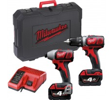 Lot perceuse + visseuse à chocs MILWAUKEE M18 BPP2D-402C - 2 Batteries, chargeur, en coffret - 4933447126