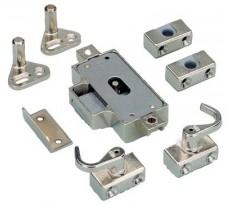 Tringle et Kit de serrure espagnolette simple à visser HETTICH - 25 mm - Nickelé -QPE08241