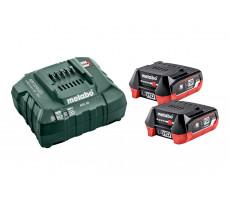 Pack énergie 12V METABO - Pack 2 Batteries 12 Volts + chargeur 2 x 4,0Ah LiHD, ASC 55 - 685301000