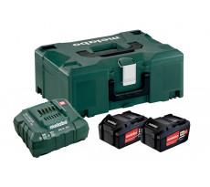 Pack énergie 18V METABO - Pack 2 Batteries 18 volts + chargeur rapide 2 x 4,0 Ah Li-Power, ASC 55, coffret Metaloc - 685064000
