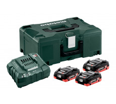 Pack énergie 18V METABO - Pack 3 Batteries 18 volts LiHD + Chargeur rapide 3 x 4,0 Ah LiHD, ASC 55, coffret Metaloc - 685133000