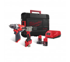 Pack perceuse-visseuse + riveteuse 12V + 2 Batteries 2/4Ah + Chargeur + HDBox MILWAUKEE - 4933471682