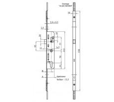 Crémone barillet F35 L.530 mm MAP ajustable haut et bas - 3555