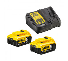 Pack 18V Li-ion DEWALT - 5.0ah - 2 batteries + chargeur - DCB115P2
