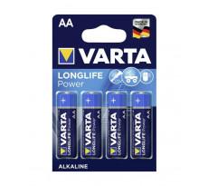 Pile alcaline 1.5V AA LR6 Longlife VARTA - blister de 4 - 4906110414