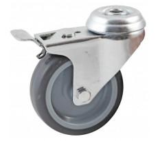 Roulette pivotante à trou central à frein AVL - roue caoutchouc - 5529