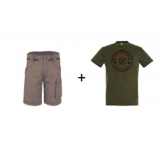 Lot BOSSEUR Bermuda Pyros Noisette + 1 Tee-shirt Kaki - 10828