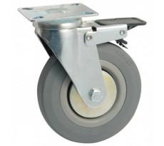 Roulette caoutchouc pivotante à platine rectangulaire + frein AVL - 5579