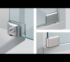 Charnière ET150 + loqueteau + bouton poussoir HETTICH - Pour portes en verre - QPE08244