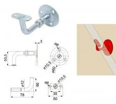 Support rampe droit réglable ou fixe TORBEL zingué bichromaté