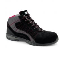 Chaussure haute LEVANT S1P - S 24 BOSSI INDUSTRIE - Cuir croûte velours noir / toile grise - 5222
