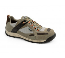 Chaussure basse QUANTI EVO S1P - S 24 BOSSI INDUSTRIE - cuir croûte velours marron/ toile beige - 5462