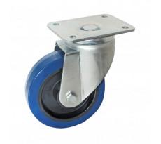Roulette pivotante AVL a platine caoutchouc bleu - 527