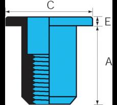 ECROU AVEUGLE INOX TETE PLATE DIAM.8MM SERRAGE 0.5-3 END0830 LA PIECE