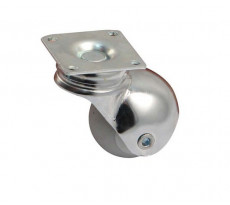 Roulette Sphere chromé à platine Ø40 charge 30 kg max.