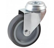 Roulette pivotante à trou central AVL - roue caoutchouc Ø 50 mm - alésage lisse - charge 50 kg - 552850L
