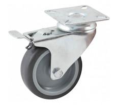 Roulette pivotante à platine rectangulaire à frein AVL - roue caoutchouc Ø 50 mm - alésage lisse - charge 50 kg - 552840L