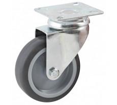 Roulette pivotante à platine rectangulaire AVL - roue caoutchouc Ø 75 mm - alésage lisse - charge 70 kg - 552831L