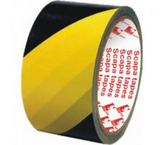 Ruban adhésif PVC zèbre 16/100 mm 33x75 SCAPA Jaune/Noir 2724 - 149459