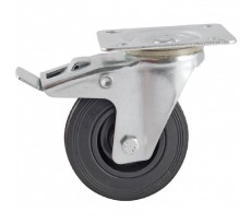 Roulettes pivotantes frein platine et caoutchouc noir AVL - 5088