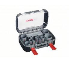 Coffret Progressor 14 pièces BOSCH 11 scies-trépans, 1 adaptateur Q-Lock, 3 adaptateurs de transition, 2 forets de centrage HSS - 2608580888