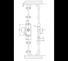 Serrure espagnolette 3 points OJMAR - axe 25mm avec rosace sans cylindre/tringle Uno - C7968.006NI