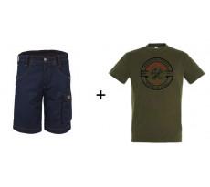 Lot BOSSEUR Bermuda marine + 1 Tee-shirt Kaki - 10828-02