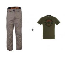Lot BOSSEUR Pantalon Harpoon noisette + 1 Tee-shirt Kaki - 11180-01
