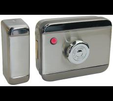 Serrure electrique motorisee 12v continu bouton interieur + cylindre exterieur 100mm 7040