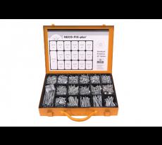 Coffret métal assortiment 3000 vis HECO - zingué argent - tête fraisée pzd - 35560