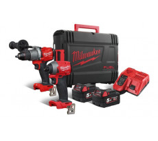 Powerpack M18 Fuel MILWAUKEE Perceuse percussion M18 FPD2 + Visseuse à chocs M18 FID2 + 2 Batteries 5Ah - 4933464268