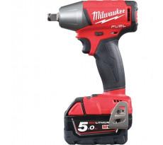 Boulonneuse à chocs MILWAUKEE M18FIWF12-502X - 18V 5.0Ah + 2 batteries, chargeur, en coffret - 4933451071