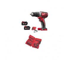 Perceuse visseuse MILWAUKEE M18-BDD 502C - 2 batteries 5.0Ah, chargeur, coffret + set d'accessoires 35 embouts - 4933451889