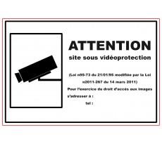 Plaque VISO - Attention site sous surveillance - 330 x 120 mm - LP32