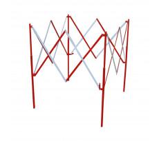 Barrière carré extensible acier rouge et blanc VISO - 1.30 m x H.1.05 m - BAR002RB