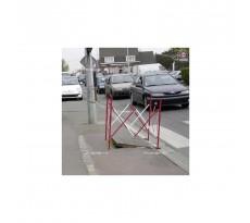 Barrière carré extensible acier rouge/blanc VISO - 1.30 m x H.1.05 m - BAR002RB