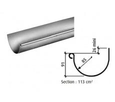 Gouttière demi-ronde de 33 - zinc naturel - sans pince - Ep 0,65 L 6 m