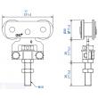 Monture fixation sur chant MANTION - 2 galets en acier - Vis d'accrochage M10 - Capacité/Porte : 80kg - 235A