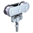 Monture fixation sur chant MANTION - 2 galets Delrin - Vis d'accrochage M10 - Capacité/porte: 80 kg - 235D