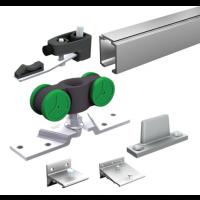 Ensemble complet MANTION SAS - Pour portes 40 Kg (1 garniture SAF40A+5 supports 11013+ rail 1108 L.2 m) - SAF40A-200