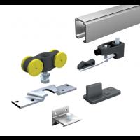 Ensemble complet MANTION SAS - Pour portes 80 Kg (1 garniture SAF80+5 supports 11013+ rail 1108 L.2 m) - SAF80A-200
