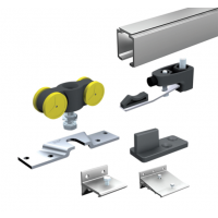 Ensemble complet MANTION SAS - Pour portes 80 Kg - (1 garniture SAF80+7 supports 11013+ rail 1108 L.3 m) - SAF80-300