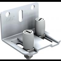 Guide réglable à 2 olives nylon sur platine acier zingué MANTION SAS - Blanc - Pour rail - 1125x18 - 1128A