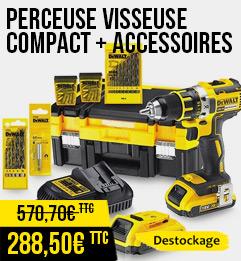 Perceuse Visseuse Compact DEWALT 18V 2.0Ah Li-Ion XR + Accessoires et coffret TSTAK - DCK790D2T